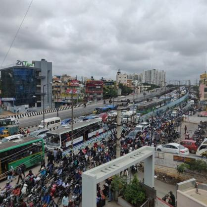 View of the infamous Bangalore traffic
