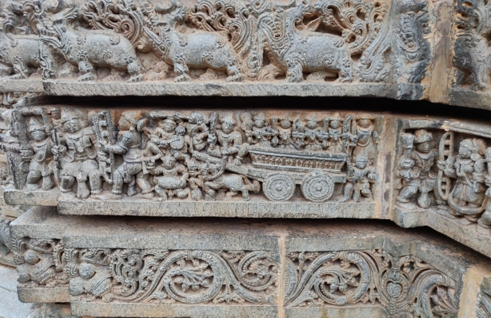 A finely carved chariot