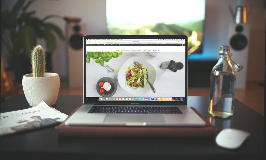 Laptop with image of food