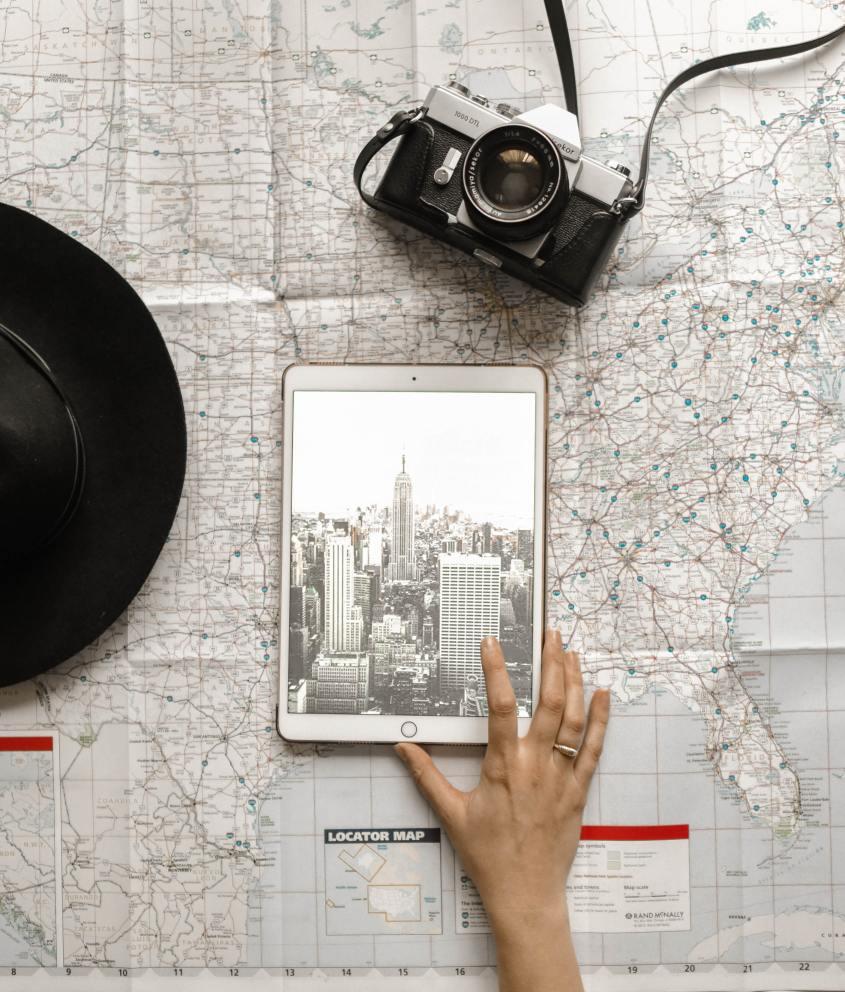 Map, iPad and Camera